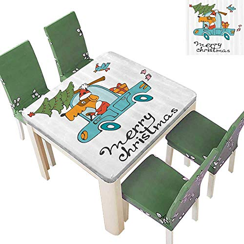 Spring & Summer Outdoor Tablecloth, Blue Vintage Car Dog Driving with Santa Costume Cute Xmas Bird Tree and Gift Present Multicolor 52 x 52 Inch]()