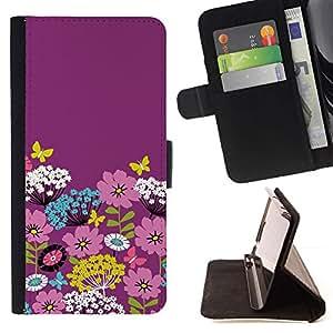 For HTC Desire 820 Case , Arte floral púrpura rosado florece la primavera Pascua- la tarjeta de Crédito Slots PU Funda de cuero Monedero caso cubierta de piel