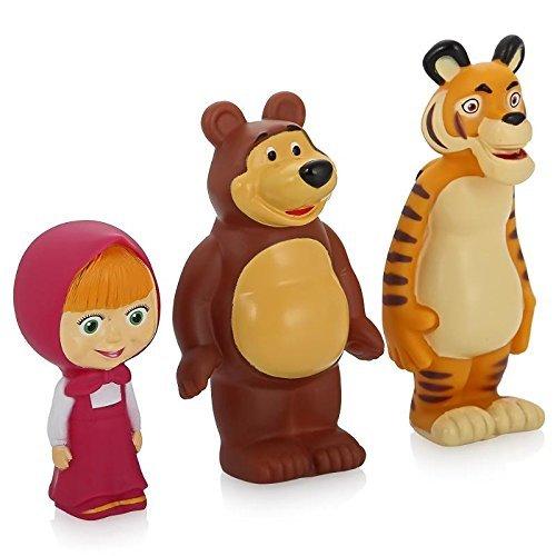 Characters Masha and the Bear Rubber Squeaking Bath Toys Masha Bear and Tiger Masha y el Oso ()