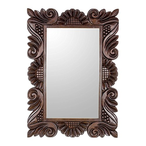 NOVICA Carved Floral Wood Frame Wall Mounted Rectangluar Mirror, Peeking Sunflowers' (Frames Mirror Unusual)