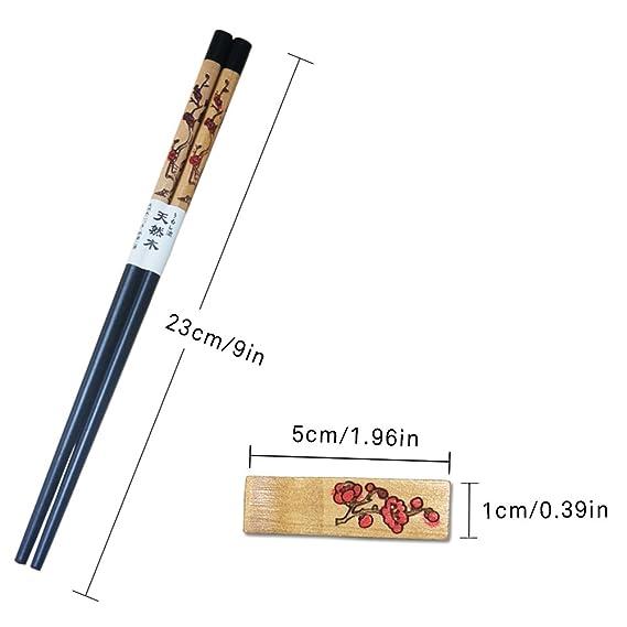YIHAO Set palillos con resto palillos de madera reutilizable 9 Inch chino palillos con soporte antideslizante lavable para lavavajillas Kit de 4 pares con ...