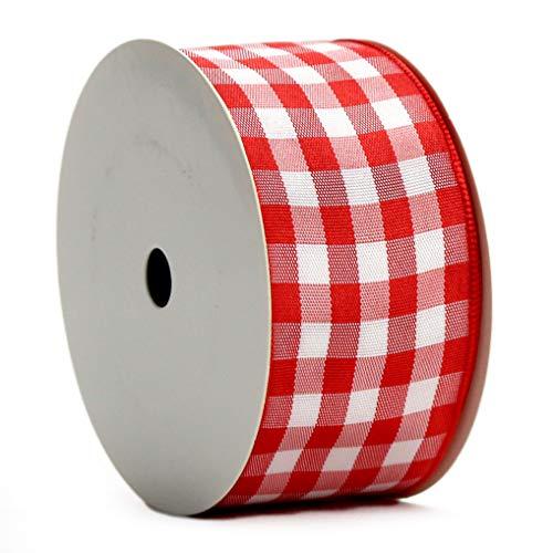 Midi Ribbon Red Gingham Woven Edge Ribbon, 1-1/2