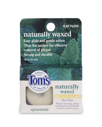 Tom's of Maine Naturally Waxed Anti-Plaque Flat Floss Spearmint 32 YD - Buy Packs and SAVE (Pack of 5)