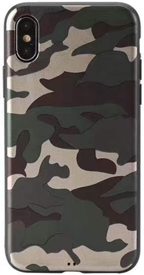 Soft Case for iPhone Xs Max Camouflage Slim Flexible TPU Silicone Rubber Back Protective Cover Skin Snap On (Army Green)