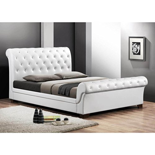 Baxton Studio Leighlin Button Tufted Modern Sleigh Bed With Upholstered Headboard Full White