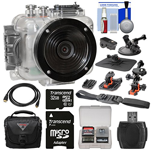 Intova Connex 1080p HD Waterproof Video Action Camera Camcorder (200 ft/ 60m) with 32GB Card + 2 Helmet, Flat Surface & Suction Cup Mounts + Case + HDMI Cable + Kit by Intova