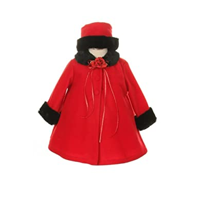 8589177ce Amazon.com  Kid s Dream Red Fleece Faux Fur Collar Stylish Coat Baby ...