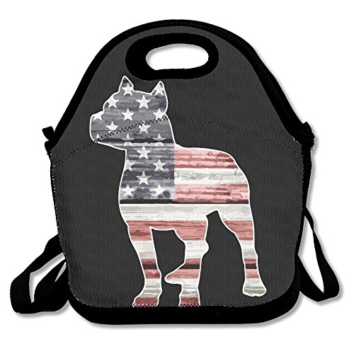 Patriotic Pitbull American Flag Stay Warm Durable Lunch Bag For School Large 11.4