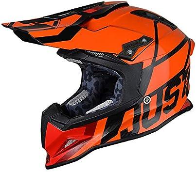 JUST1 J12 Unit Carbon Fiber Shell Off-Road Adult Motorcross Motorcycle helmet Gloss Black Trans, Carbon Unit Orange Fluo-Medium