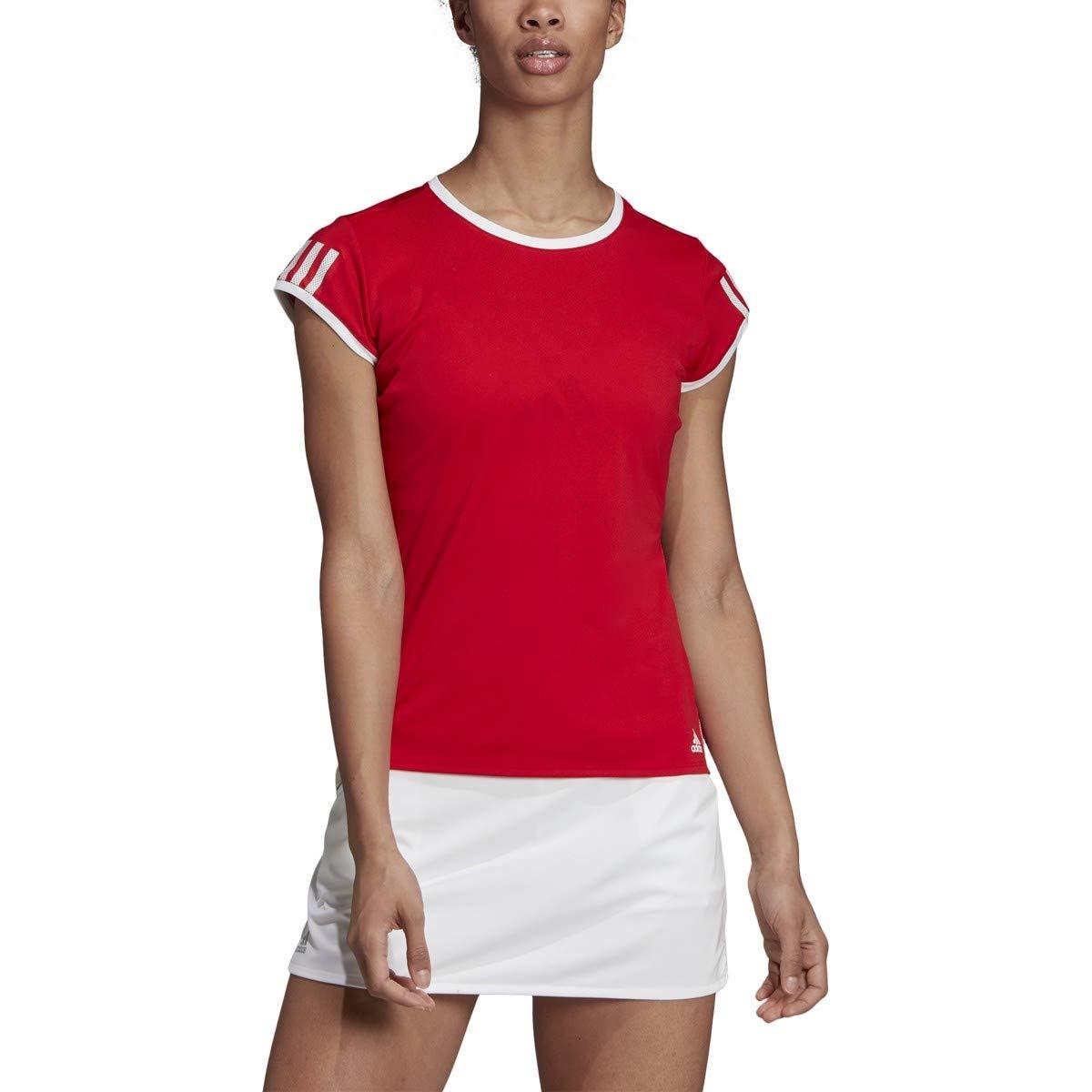 adidas Club 3-Stripes Tennis Tee, Scarlet, X-Small