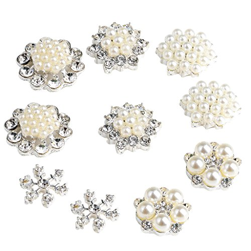 Baosity 10pcs Assorted Bling Cluster Pearl Rhinestones DIY Wedding Bow Buttons Flat Back Gemstone Brooches Earrings Supply