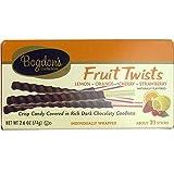 Bogdon's Fruit Twists Chocolate Dipped Reception Candy Sticks (Lemon, Orange, Cherry, Strawberry) - 21 Sticks Box