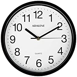 Adalene Wall Clocks Battery Operated Non Ticking - 10 Inch Completely Silent Wall Clock, Analog Quartz Office Wall Clock - Vintage Black Wall Clock for School, Non Ticking Wall Clock, Classroom Clock
