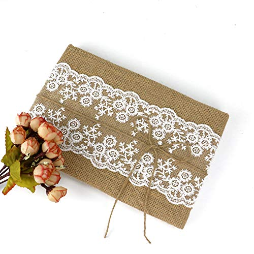 JETEHO Rustic Wedding Guest Book Burlap Lace Decoration Hardcover Vintage Wedding Accessory 9 x 6'' ()