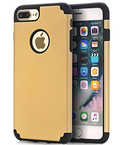 iPhone 7 PLUS 5.5 Case,ibarbe Slim Premium Shock Absorption Plastic Rubber Silicone Bumper Cushion Scratch Resistant Protective Cases Hard Cover for Apple iPhone 7 PLUS 5.5 2016 (gold/black)