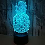 RGANT 3D Led Desk Lamp,Optical Illusion 7 Colors Touch Button/Remote Control Table Desk Visual Night Light Lamps Gifts Toys for Children Kids-Pineapple