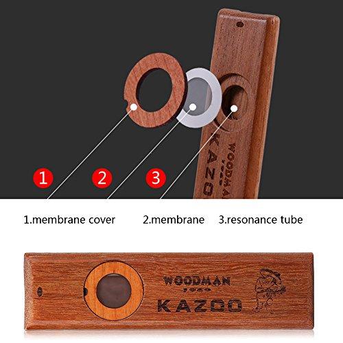 Tbest Kazoo Madera,Kazoo Instrumento Musical Ukelele Guitarra Partner Madera Armónica Kazoo Vintage de Madera con Caja de...