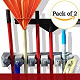 single broom holder - Set of 2 Mop And Broom Holder Organizer Wall Mounted Rack Hanger Garage Storage Solutions For Garden And Cleaning Tools 2 Single Holders Included 1 Year Warranty by DOKO-IN