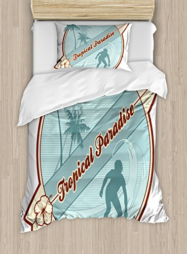 Surf Duvet Cover Set Twin Size by Ambesonne, Retro Image Silhouette of a Surfer and Palms Tropical Paradise Wave Illustration, Decorative 2 Piece Bedding Set with 1 Pillow Sham, Blue - Surfers Paradise Stores