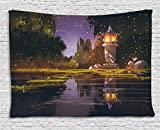Landscape Tapestry by Ambesonne, Idyllic Scenery at Night with a Stone Lantern Fireflies and Forest Trees Swamp, Wall Hanging for Bedroom Living Room Dorm, 60 W X 40 L Inches, Multicolor