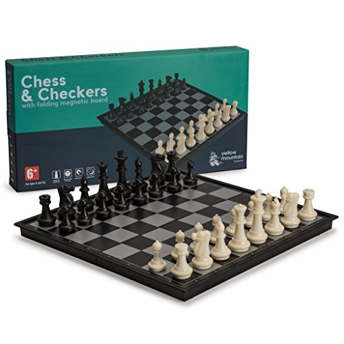 2 in 1 Travel Magnetic Chess and Checkers Game Set, 14 Inches ()