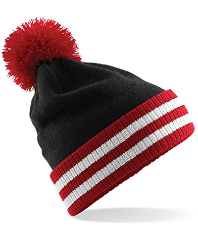 Beechfield Varsity Mens Winter Beanie Hat (One Size) (Black / Classic Red / White) (White Beanie Classic)