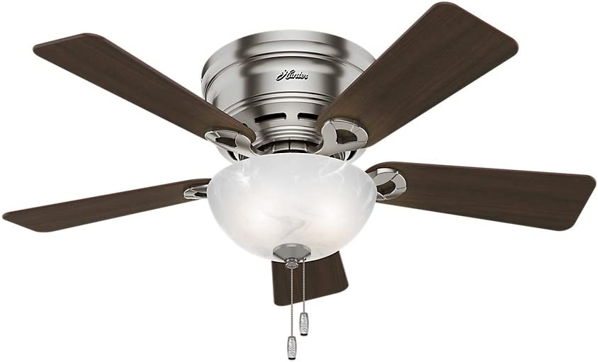 Hunter Indoor Low Profile Ceiling Fan with light and pull chain control - Haskell 42 inch, Brushed Nickel, 52139