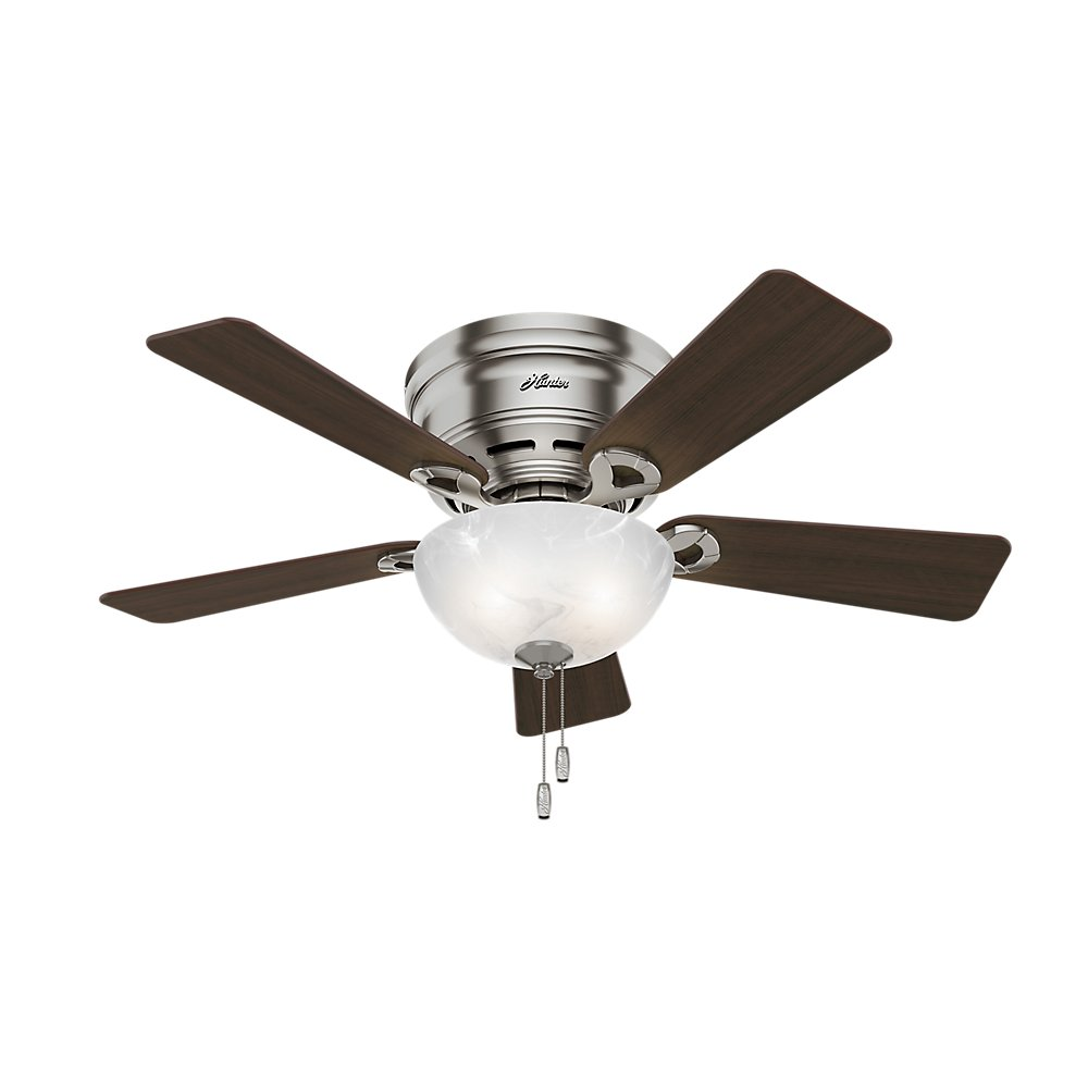Hunter Indoor Low Profile Ceiling Fan with light and pull chain control – Haskell 42 inch, Brushed Nickel, 52139