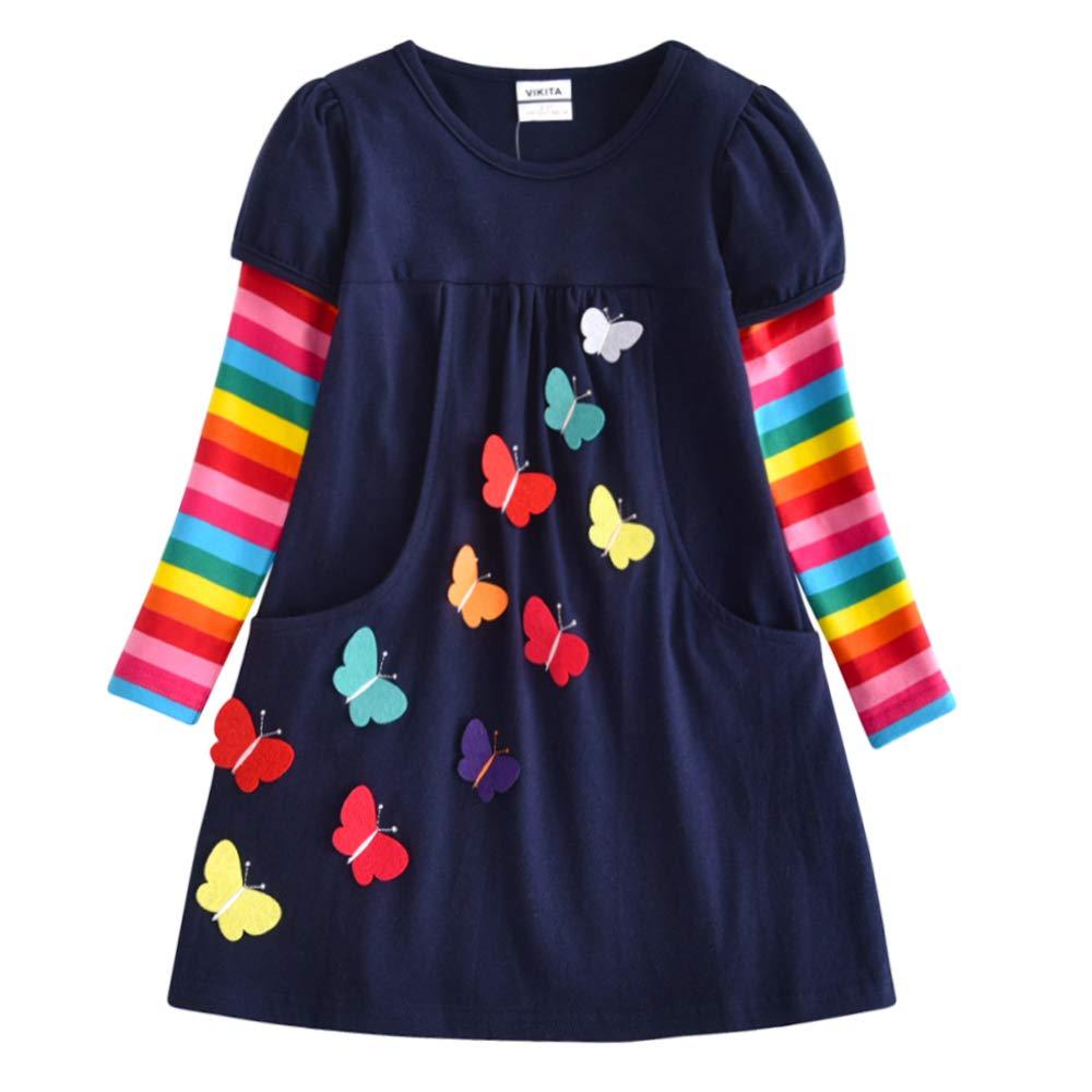 VIKITA 2018 Toddler Girls Dresses Long Sleeve Girl Dress for Kids 3-8 Years LH5805, 7T