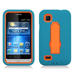 Microseven Heavy Duty Armor Kickstand Dual Layer Case Cover For ZTE Z788G (Illustra) with Microseven Packaging (Green/Orange)