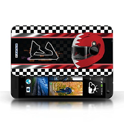 Etui / Coque pour HTC One/1 M7 / Bahreïn/Sakhir conception / Collection de F1 Piste Drapeau