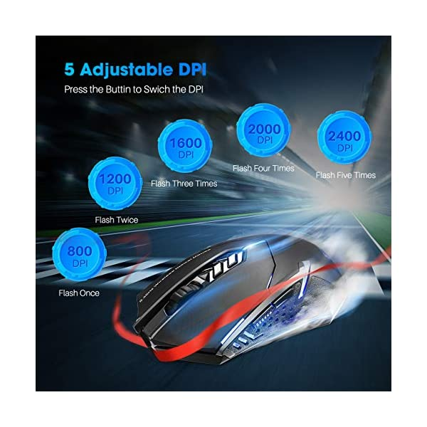 VicTsing Wireless Gaming Mouse with Unique Silent Click, Breathing Backlit, 2 Programmable Side Buttons, 2400 DPI…
