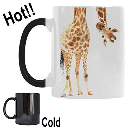 InterestPrint Watercolor Giraffe Animal Print Morphing Mug Heat Sensitive Color Changing Coffee Mug Cup with Quotes, Funny African Wildlife Safari Coffee Mug Christmas Birthday Gifts