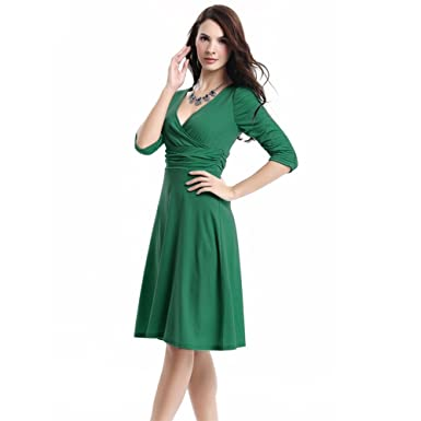 aed79d2d046 Women Sleeved Sleeve Elegant Three Quarter Sleeve Dress Ruched Bell(Army  Green