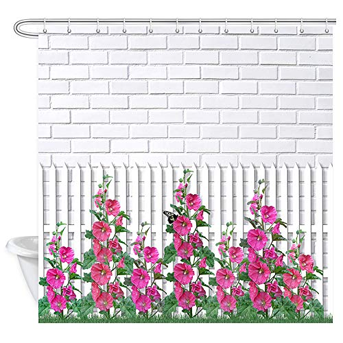 Floral Shower Curtain Garden Flowers, Blooming Morning Glory Green Leaves on White Fence, Modern Brick Wall Vine Plant Nature Scene Fabric Shower Curtains, Red White Gray (Machine Washable) 69x70 Inch (Curtain Vines Garden Gray)
