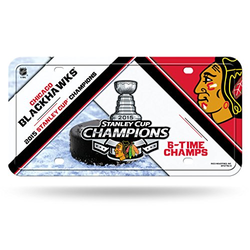 Chicago Blackhawks Official NHL 12 inch x 6 inch 2015 Stanley Cup Champions Metal License Plate by Rico Industries 887728