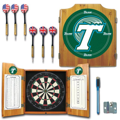 Trademark CLC7000-TUL NCAA Team Logo Dart Cabinet With Darts and Board, Tulane University by Trademark Global