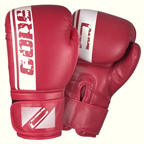CORE SPORTS Boxing Gloves for Men & Women Training Sparring Kickboxing Leather UFC MMA Muay Thai Pro Punching Fight Heavy Bag Mitts (Red, 14oz) (Pro Fight Gloves)