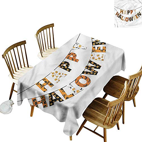 one1love Anti-Fading Tablecloths Halloween Greetings Pumpkins Skull Table Cover for Kitchen Dinning Tabletop Decoratio 60