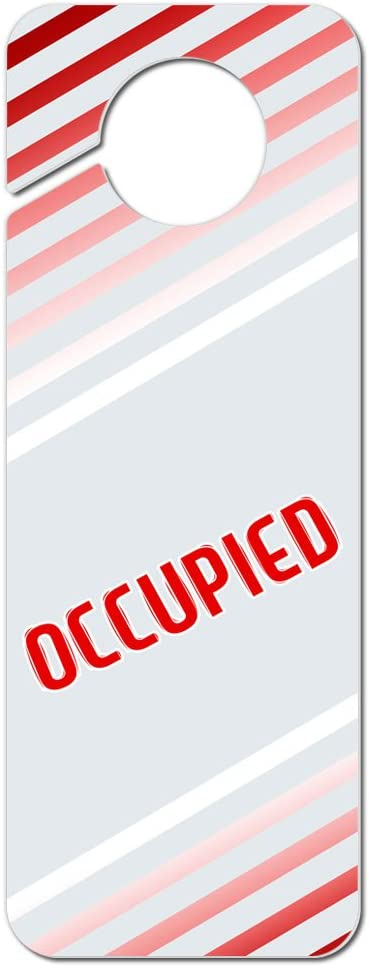 Graphics and More Occupied Red Stripes Plastic Door Knob Hanger Sign