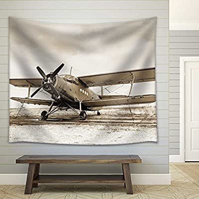 Old Airplane on Field in Sepia Tone Fabric Wall, With Expert Quality, Fascinating Artisanship