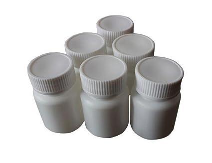 Juego de 12 botellas de plástico blancas de 30 ml para pastillas cápsulas, recipientes de