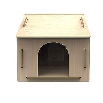 Caseta para Mascotas en el Nido de Madera al Aire Libre en la Perrera Grande Teddy Wo Dog House Cuatro Estaciones Universal - Grande - Color Madera: ...