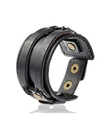 OUBEY Jewelry Punk Black Classic Design Wide Soft Real Leather Bangle Cuff Bracelet Mens Jewelry Metal Button Adjustable Wristband New