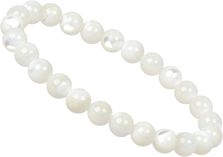 PowerBead - Pulsera de Perlas de Piedra Preciosa con nácar, 8 mm, para Hombre y Mujer