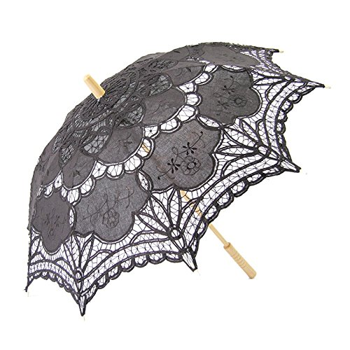 5 Essential Victorian Costume Accessories Gaobei Victorian style Romantic Lace Umbrella Parasol for Decoration Wedding Costume Accessory Bridal Photograph Size: 26 * 30