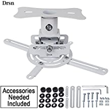 Universal Adjustable Ceiling Projector/Projection Mount, Drsn Low Profile Projector Mount White with Extending Arms Mounting Bracket for Home and Office