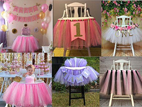 Lansian Tulle Tutu Table Skirt for 1st Birthday Girl High Chair Decorations Pink and Silver for Party, Wedding and Home Decoration (Pink&Silver, 39'' Length x 15.7'' Height) by Lansian (Image #6)