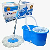 Spin Mop, Woodsam (TM) - Press Type Mop & Bucket Set - 360° Rotation Push & Pull - NON PEDAL - Easy Wring with Quality Reusable Mop Heads (Blue)