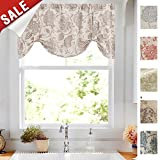 Tie-up Valances for Windows Jacobean Floral Printed Tie Up Valances for Kitchen Windows Flax Linen Textured Medallion Design Tie Up Shade Window Curtain (1 Panel, Taupe, 20 Inches Long)
